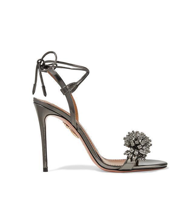 Aquazzura Monaco Crystal-Embellished Metallic Leather Sandals