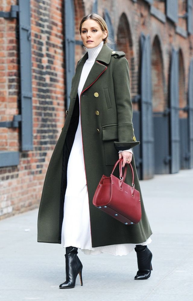 On Olivia Palermo: Zara Knit Dress; Tibi Military Coat (£1310); Longchamp Bag; Jimmy Choo boots.