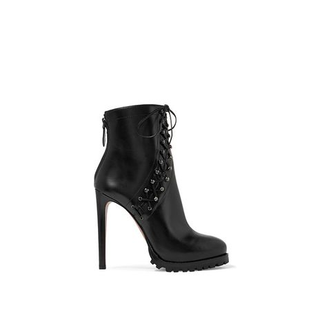 Lace-Up Leather Platform Ankle Boots