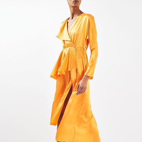 Satin Peplum Tea Dress