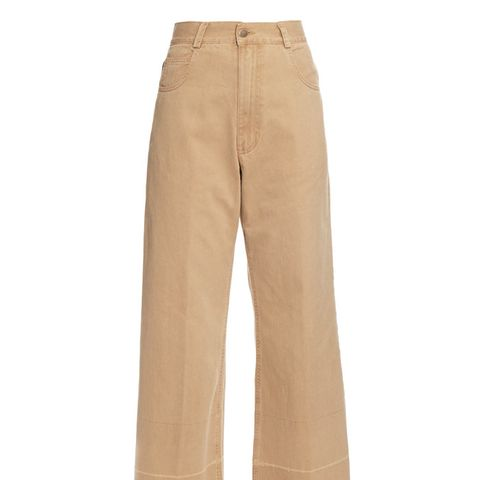 Wide-Leg Cotton-Twill Cropped Chino Trousers