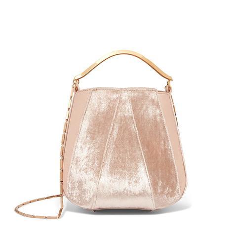 Pepper Velvet and Leather Bucket Bag