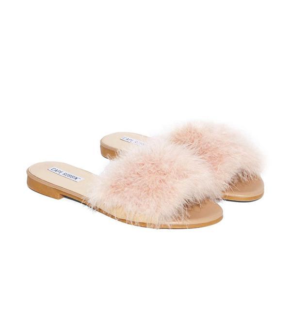 Nasty Gal Valley Girl Feather Slide Sandal