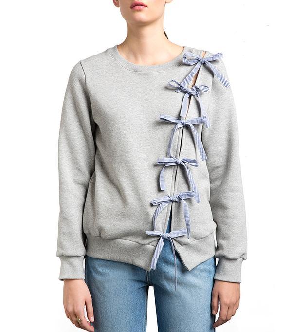 Pixie Market Diagonal Bow Tie Sweatshirt