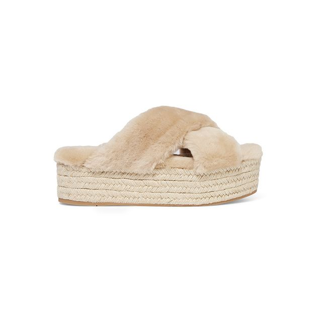 Miu Miu Shearling Espadrille Platform Sandals