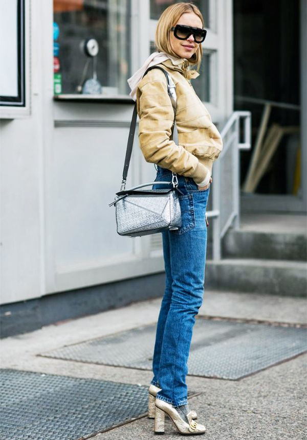 21 Street Style Looks That Prove Metallic Shoes Are Always