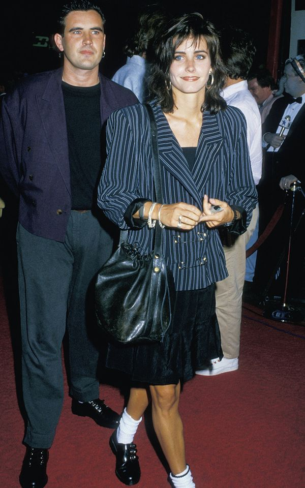 Eighties fashion: Courteney Cox wearing the structured shoulders look