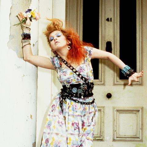 Cyndi Lauper in a classic eighties fashion belt