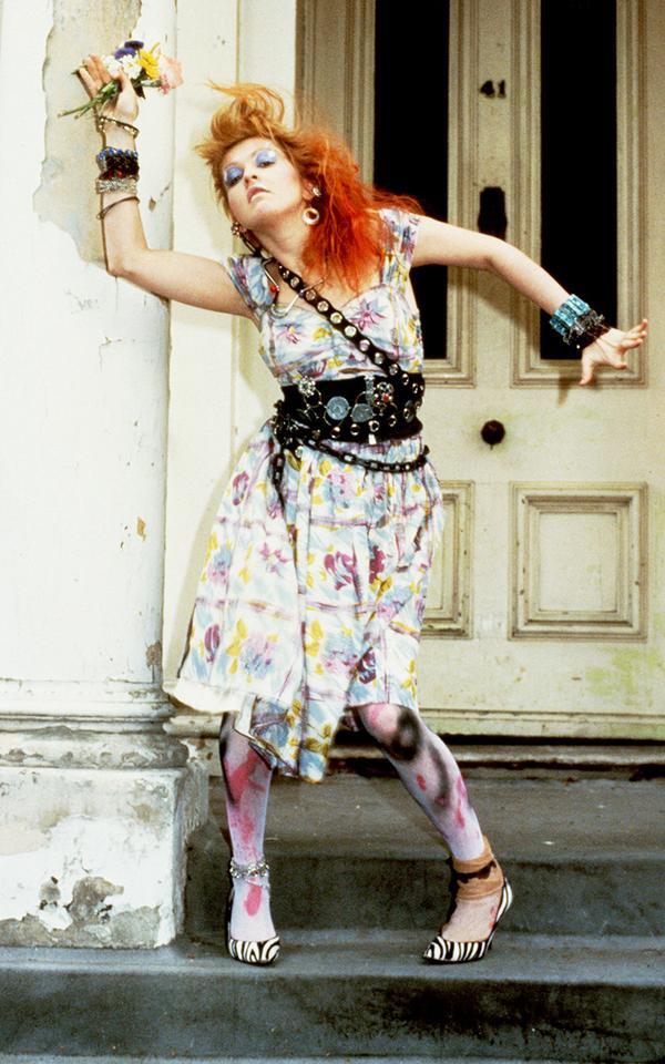 Eighties fashion: Cyndi Lauper wearing an oversized belt/corset hybrid