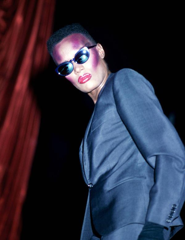 Eighties fashion: Grace Jones in a masculine suit