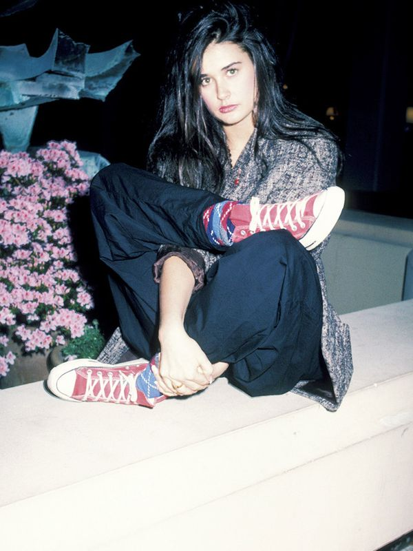 Eighties fashion: Demi Moore in cropped trousers all the better to see your socks with