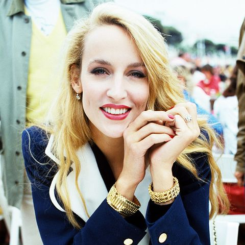 Jerry Hall in Cannes in the 1980s