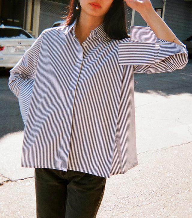 Toit Volant November Pleated Button Shirt - Blue Stripe