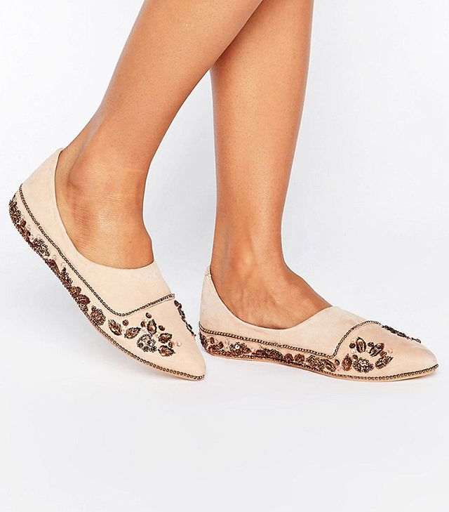 Free People Embroidered Flats