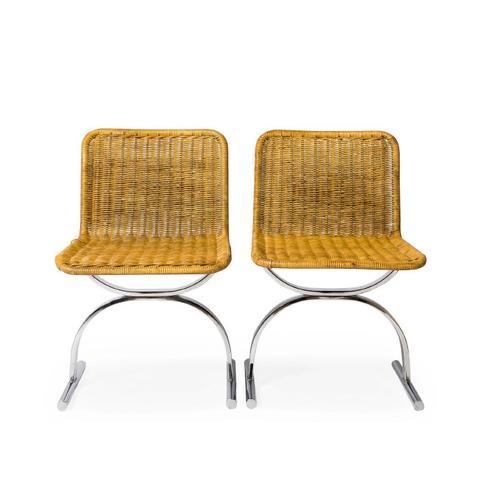 Pair of Tan Midcentury Wicker Chairs