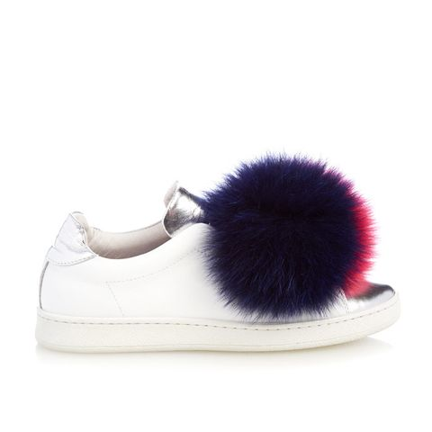 Fur-Pompom Leather Trainers