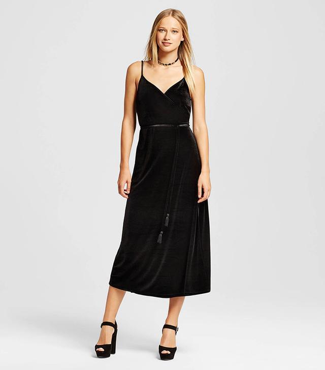 Who What Wear Velvet Wrap Slip Dress