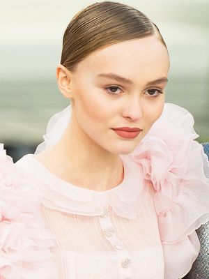 Lily-Rose Depp Closed Chanel Couture in a Pink Wedding Dress
