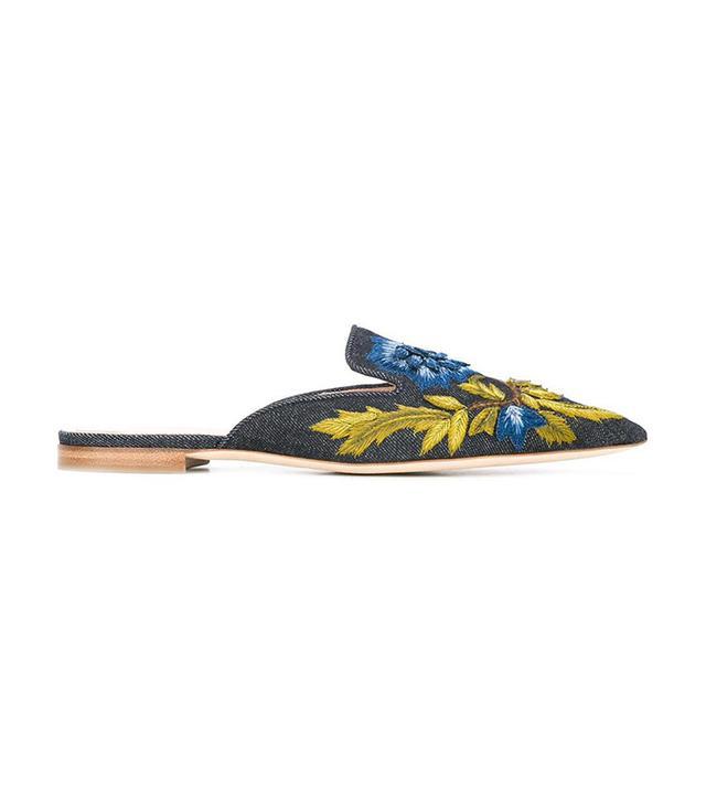 Alberta Ferretti Embroidered Floral Slides
