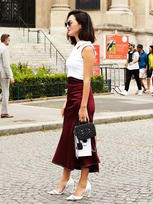13 Burgundy Skirts for a Subtler V-Day Look