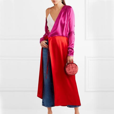 Gabriela Two-Tone Satin Wrap Dress