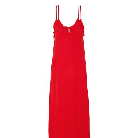 Frayed Textured-Crepe Midi Dress