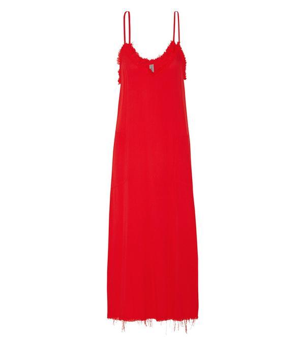 Raquel Allegra Frayed Textured-Crepe Midi Dress
