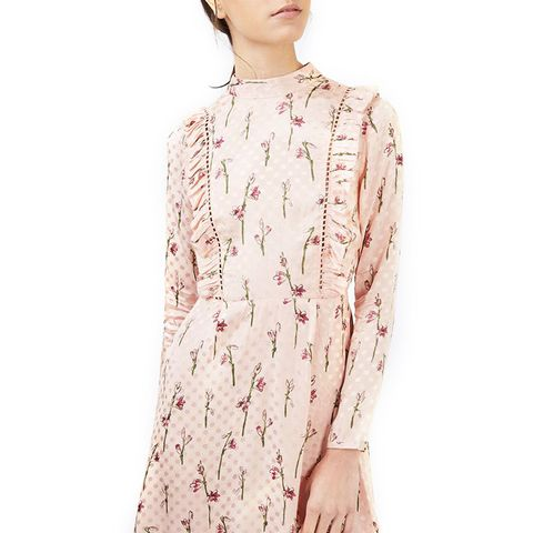 Spot Jacquard Ruffle Dress