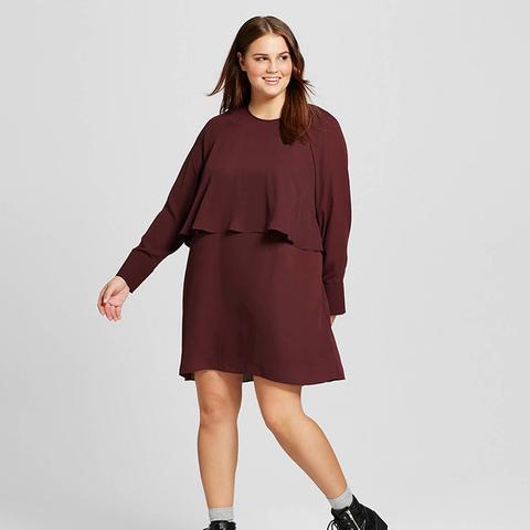 Women's Plus Size Layered Raglan Dress