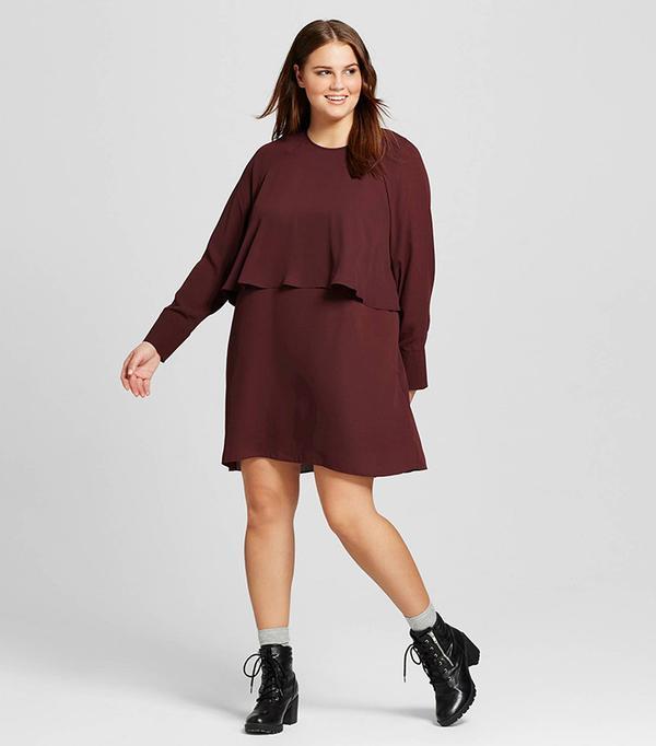 Who What Wear Women's Plus Size Layered Raglan Dress