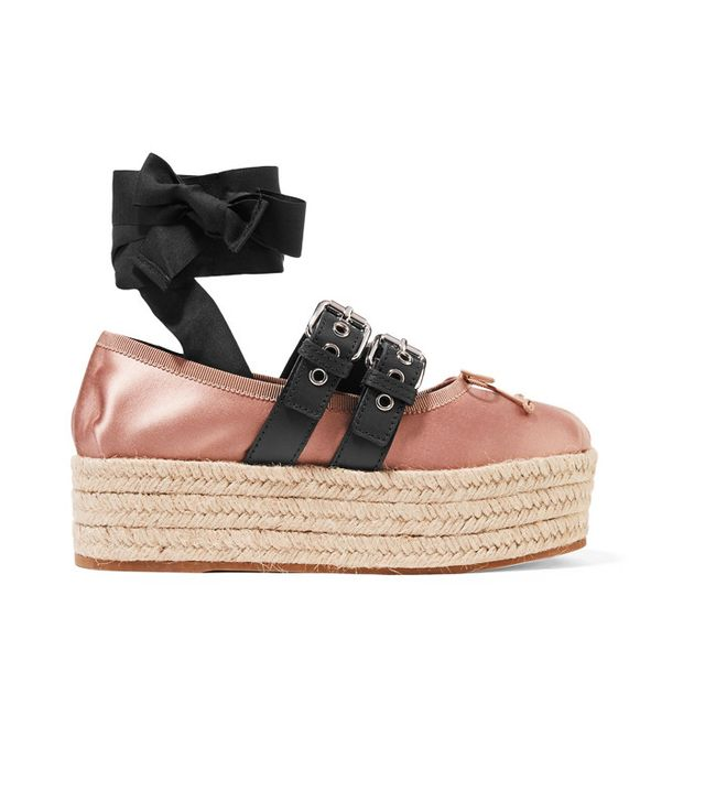 Miu Miu Lace-Up Leather Platform Espadrilles