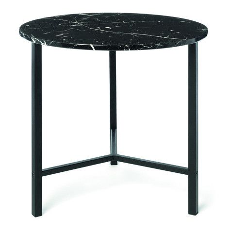 Marble Look Side Table - Black