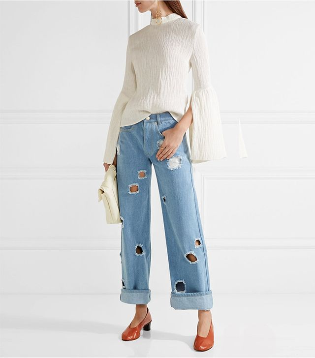 cutout boyfriend jeans