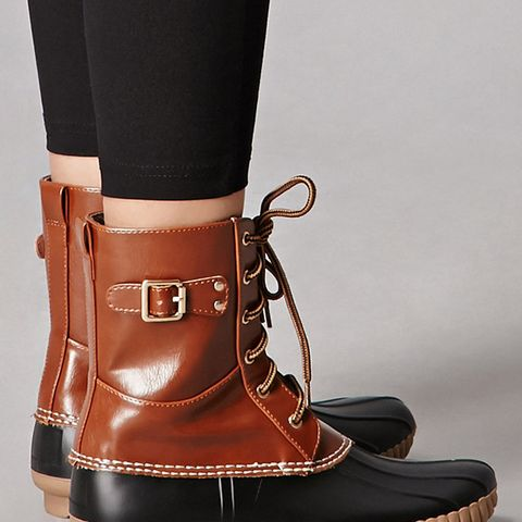 Faux Leather Duck Boots