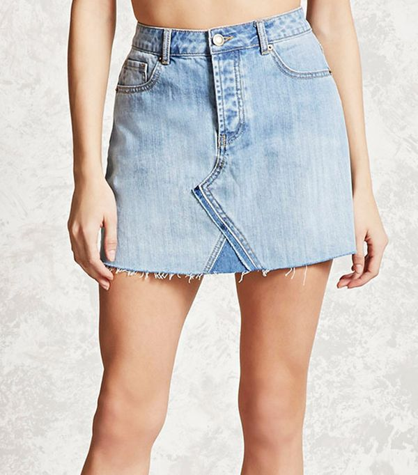 split-hem denim skirt