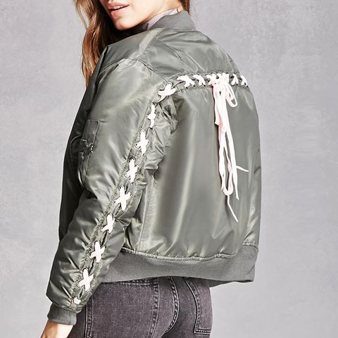 Repurposed Lace-Up Bomber Jacket