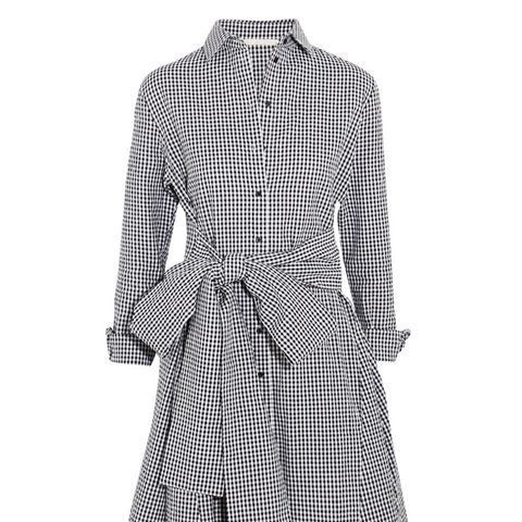 Tie-Front Gingham Cotton Mini Dress