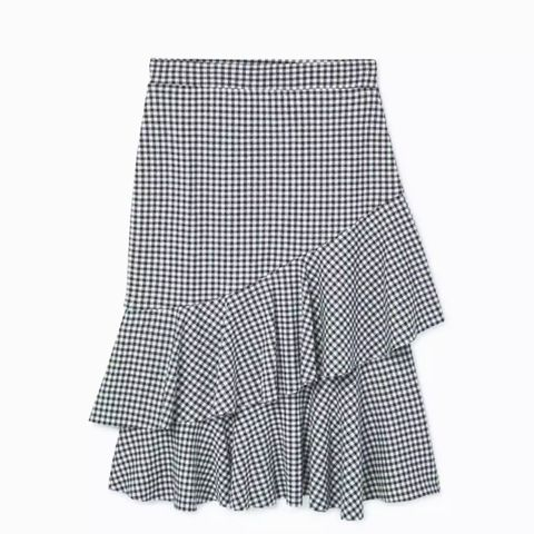 Check Pattern Ruffled Skirt