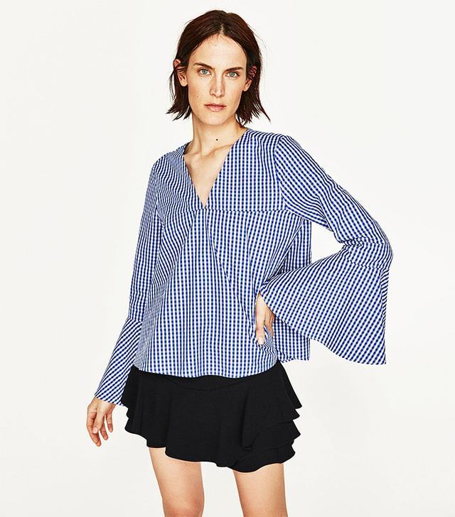 Zara Gingham Top With Belled Sleeves