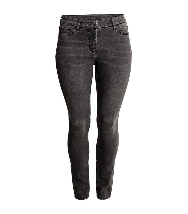 H&M+ Slim-Fit Pants in Nearly Black