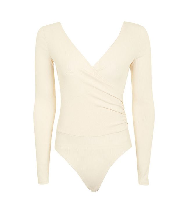 Topshop Long Sleeve Wrap Ribbed Bodysuit