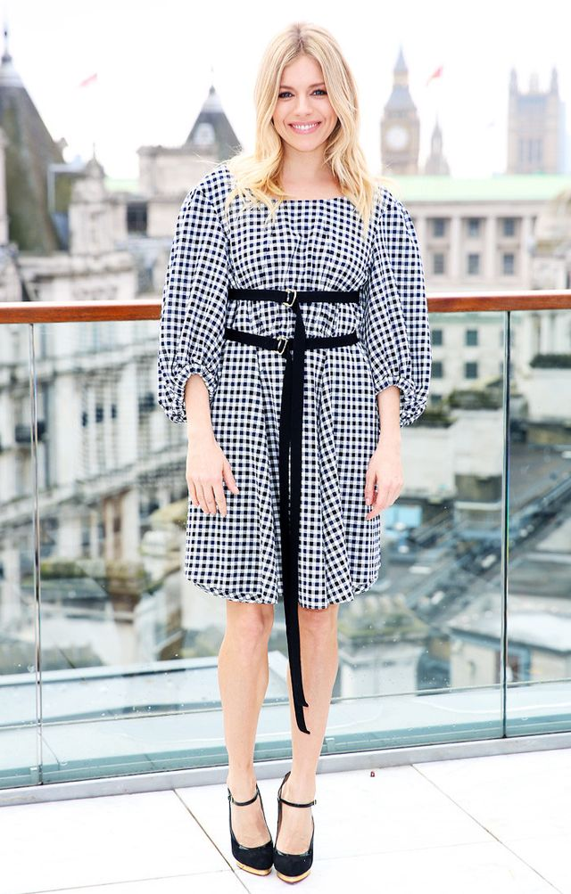 Sienna Miller Gingham Dress and Belt