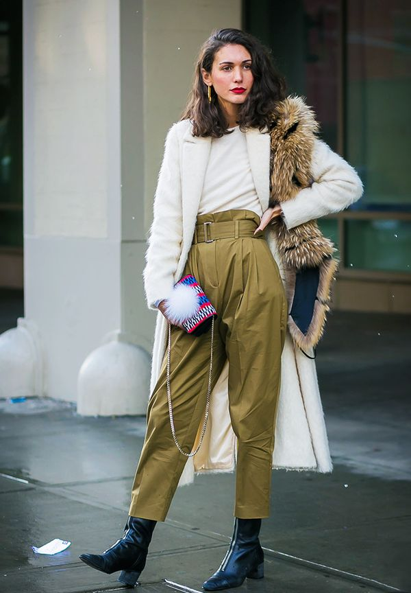 Minimalist fashion: paper bag khaki trousers