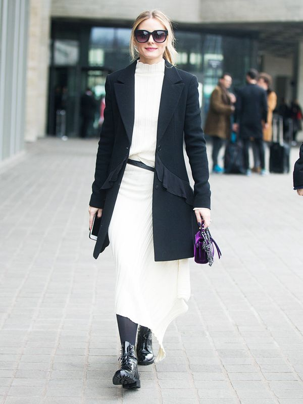 Minimalist fashion: Olivia Palermo in white jumper dress