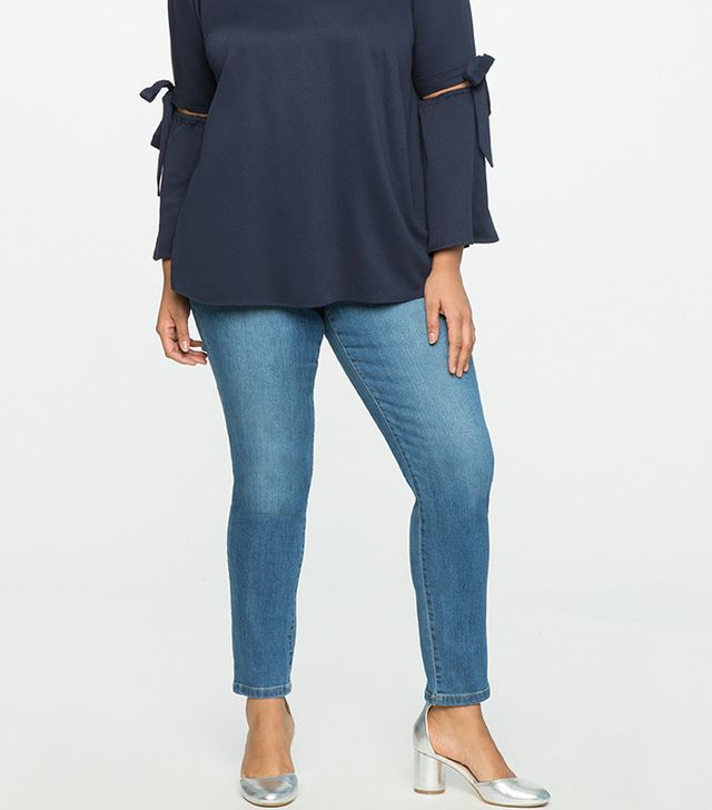 Eloquii Button Fly High Rise Skinny Jeans