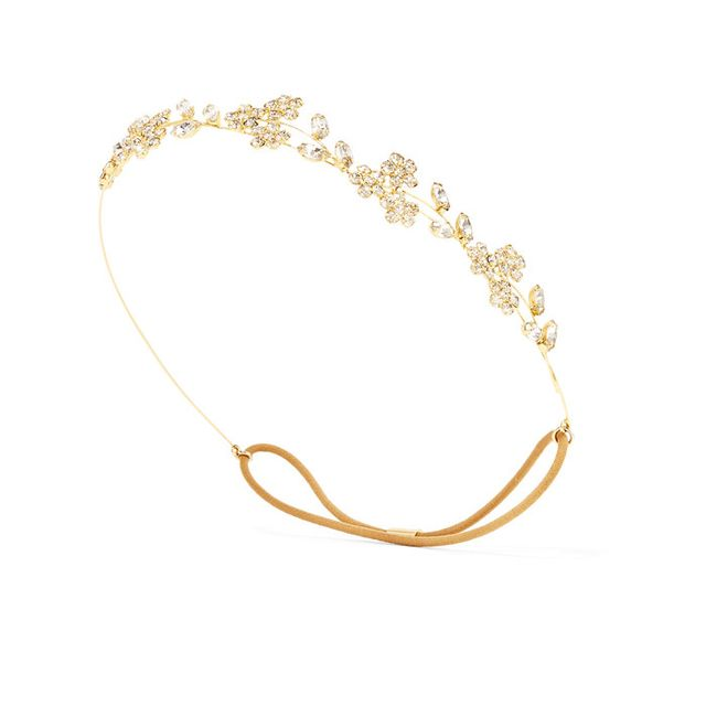 Best street style beauty inspiration: Jennifer Behr Violet Bandeaux Gold-Tone Crystal Headband