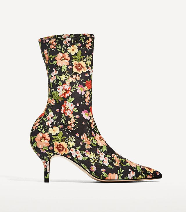 Zara Floral Fabric High Heel Ankle Boots