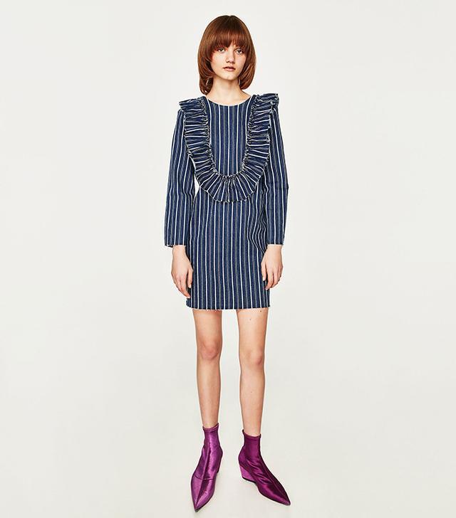 Zara Striped Dress With Frills
