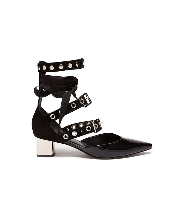 Robert Clergerie x Self-Portrait Susa Patent Leather and Suede Pumps