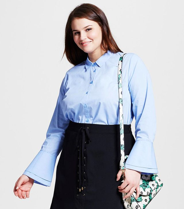 Who What Wear Plus Size Layered Cuff Button Up